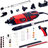 NoCry 10/125 Professional Rotary Tool Kit with Heavy Duty 170W/1.4A Electric Motor, Universal 3-Jaw Chuck, 10 Attachments & 125 Accessories Included (Color: Black, Red)