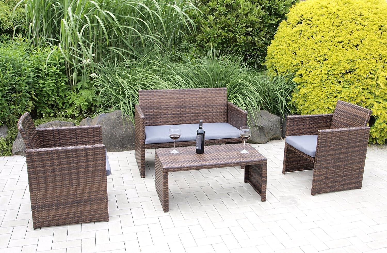 Lounge Garnitur Portofino 4-teilig, Stahl + Polyrattan braun, mit Polstern grau