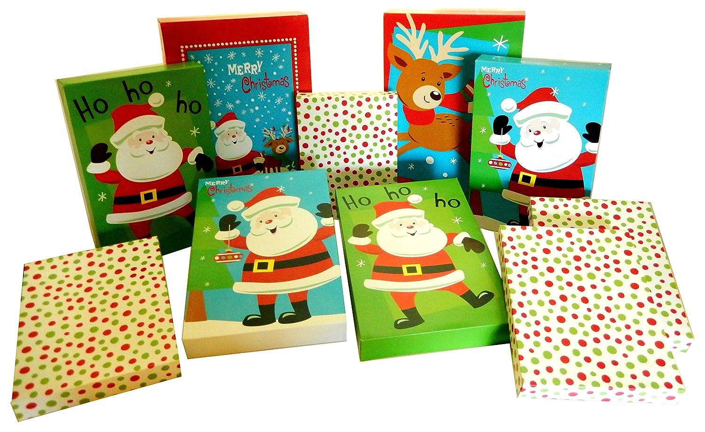 Set of 10 Christmas Gift Boxes, 2 Robe Box, 4 Shirt Box, 4 Lingerie Box (10 Gift Boxes, Santa Claus and Friends)