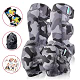 Innovative Soft Kids Knee And Elbow Pads Plus Bike Gloves | Toddler Protective Gear Set | Comfortable Breathable Safe | Roller-Skate, Skateboard, Rollerblade For Children Boy And Girl(Snow Land Camo)