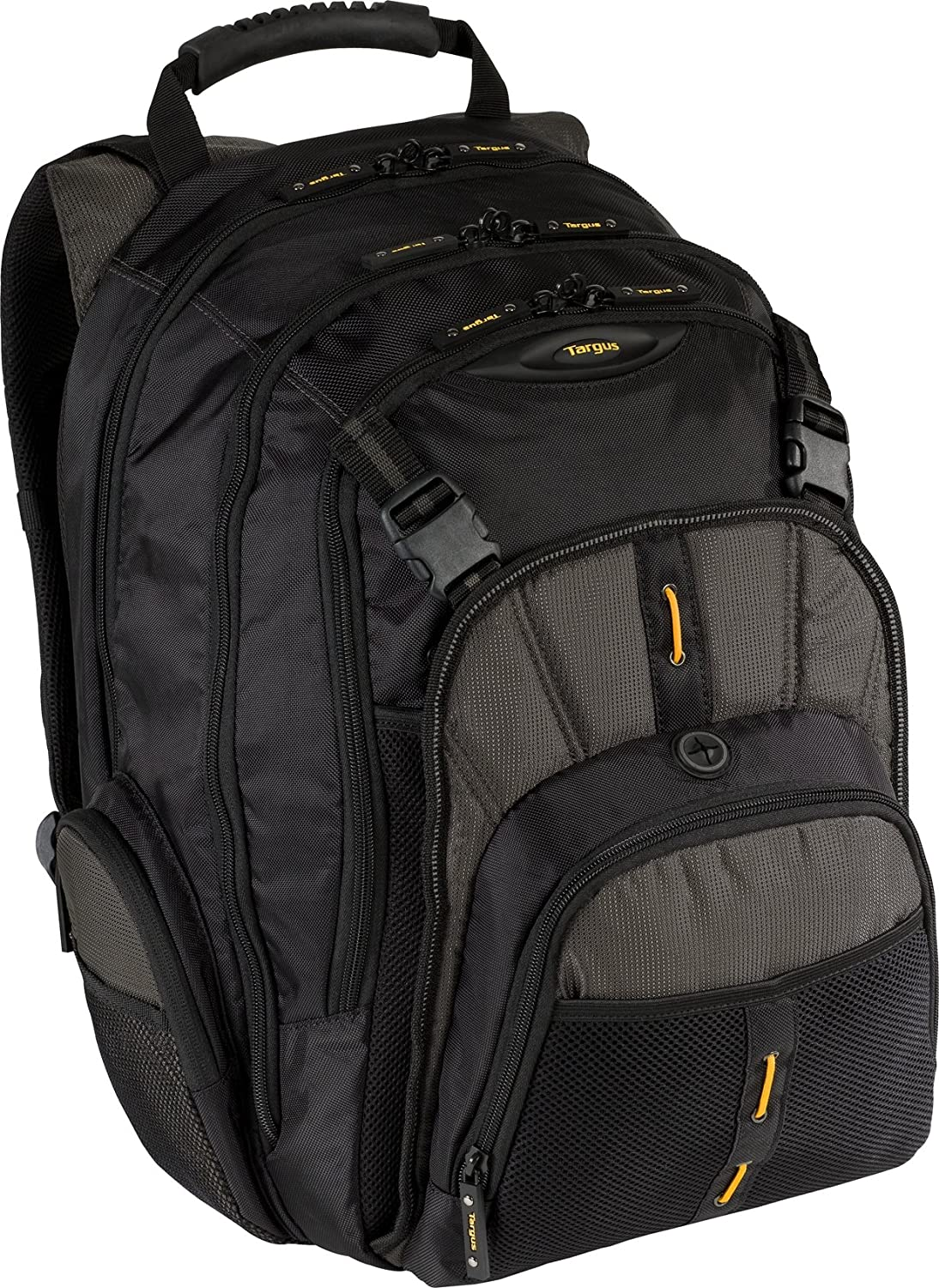 Targus CityGear Commuter Backpack for 16-Inch Laptops, Black/Yellow Accents (TBB018US) targus awe55eu black