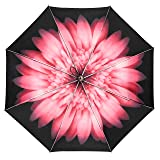 Auto Open & Close Cute Travel Umbrella Auto Foldable Rain Windproof Anti-UV Flower Umbrella for Easy Carrying Auto Pink (Color: Auto-pink)