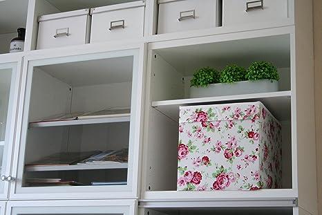 ikea regalfach dr na aufbewahrungsbox regaleinsatz in 33x38x33 bxtxh mit rosenmuster de93. Black Bedroom Furniture Sets. Home Design Ideas