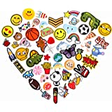 55pcs Cool Embroidered Iron On Patches Cute Sewing On Patches Appliques for Clothes Jackets Hats Backpacks Jeans; Kids Boys Girls; Rainbows Unicorns Dinosaurs Roses Hearts Butterfly Animals Fruits (Color: Kids Variety)