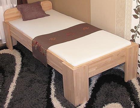 8.8.7.3077: hohe Liegehöhe 55cm - Bett fur Senioren - schönes und erhöhtes Komfortbett aus Buche massiv - Liegefläche 90x200cm - fur Senioren geeignet - Einzelbett - Holzbett 90x200cm