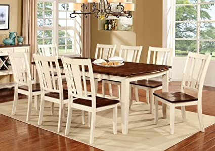 Furniture of America Macchio 9-Piece Transitional Dining Set, Cherry/Vintage White