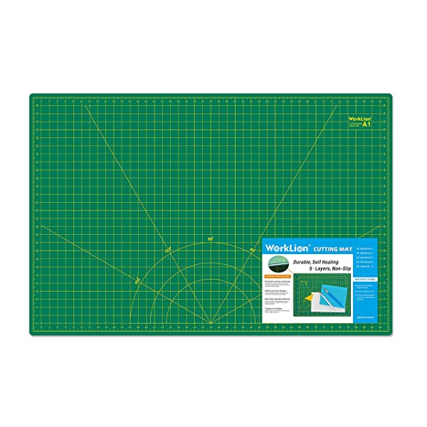 WORKLION 24 x 36 Large Self Healing PVC Cutting Mat, Double Sided, Gridded Rotary Cutting Board for Craft, Fabric, Quilting, Sewing, Scrapbooking - Art Project