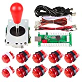 Avisiri 1 Player Arcade Buttons Joystick DIY Kit Parts Include 1x Ellipse Balltop Handle Stick 10x LED Arcade Button 1x USB Encoder Controller for PC MAME Raspberry Pi Windows (Red) (Color: Red)