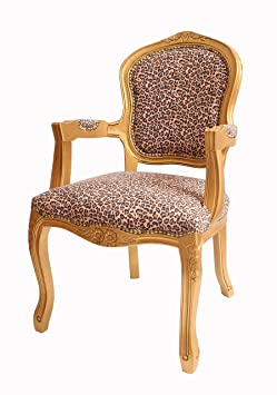 LOUIS ANTIQUE STYLE FRENCH ARMCHAIR GOLD LEOPARD PRINT SHABBY CHI