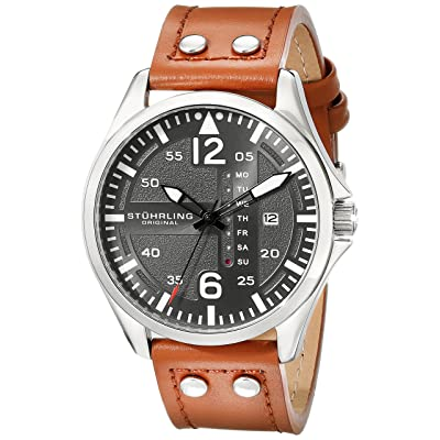 Stuhrling Original Men's 699.02 Aviator Quartz Day and Date Grey Dial Brown Leather Band Watch