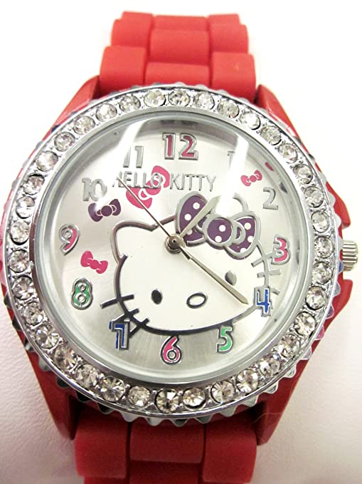 Hello Kitty Watch with Bright Red Silicone Rubber Gel Band.