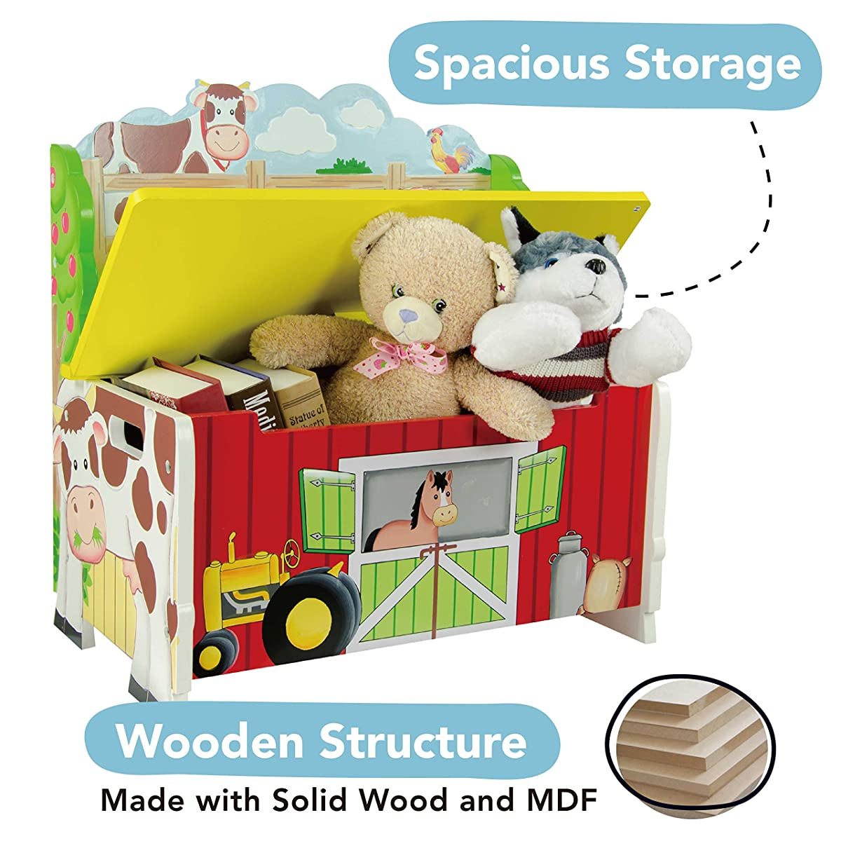 Happy Farm Animals Thematic Kids Storage Bench