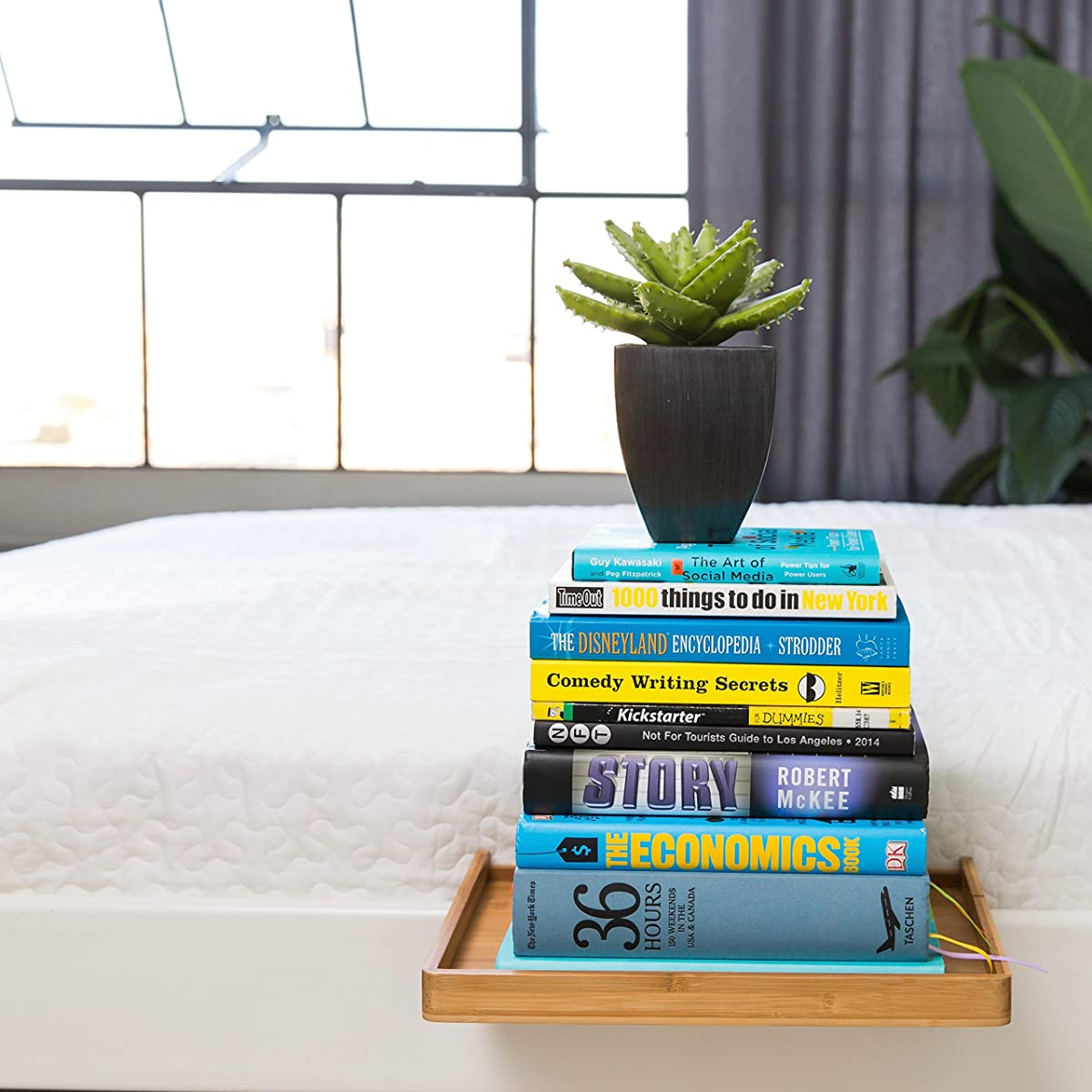 BedShelfie - Bedside Shelf / a Space-Saving Floating Nightstand for Small Bedrooms, Lofts, Modern Dorms & Contemporary Bunk Beds / Minimalist Caddy Organizer (Natural Bamboo Color)