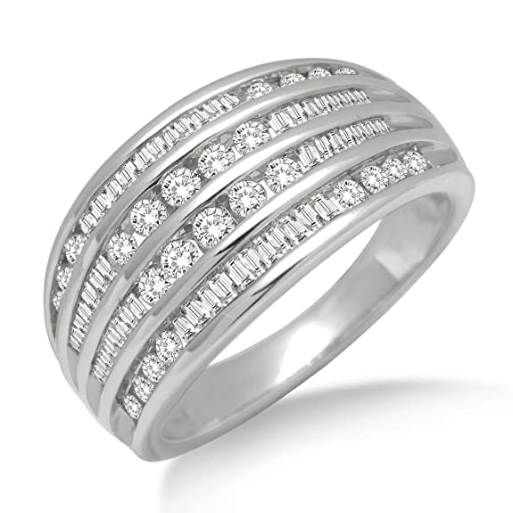 Miore Diamond Ring, 14ct White Gold, Diamond Ring, 0.90 carat Diamond Weight, Size N, SA401RO