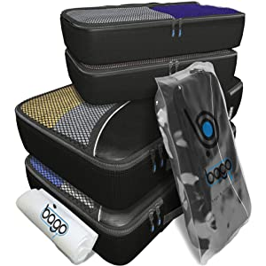 Packing Cubes 4pcs Value Set for Travel - Plus 6pcs Luggage Organizers Zip Bags