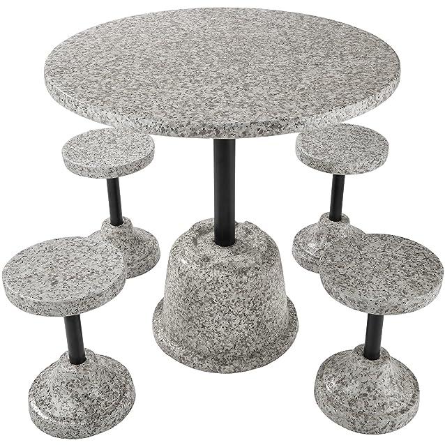 TecTake Set di mobili da giardino simil pietra | 4 Sgabelli 1 Tavolo | Resistente alle intemperie