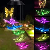 Topspeeder Solar Powered Color-Changing Led Butterfly Wind Chimes Multi Solar Powered Mobile Waterproof Automatic Light Sensor Outdoor Decor (Color: Butterfly)