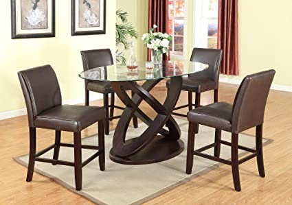Roundhill Furniture 5 Piece Cicicol Counter Height Glass Top Dining Table with Chairs, Espresso