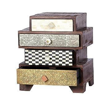 """SIT-Möbel 4054-30 Kommode """"Ebony"""", B/T/H: ca. 50 x 33 x 57 cm, Mango/MDF mit Messing/Metall/Kupfer/Coconut Shell/Knochen, lackiert, braun"""