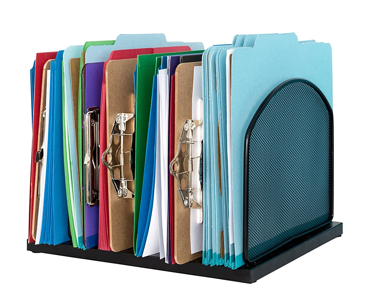 Metal Desktop File Organizer, 6 Vertical Compartment Metal Mesh Organizer, Perfect for Home or Office Organization, Stores Binders, folders,Letter Files, Papers, Books, and More