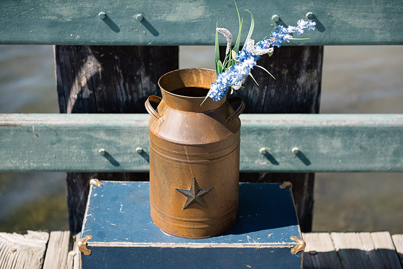 Craft Outlet Milk Can Container with Star Attached, 10.5-Inch, Rust 4