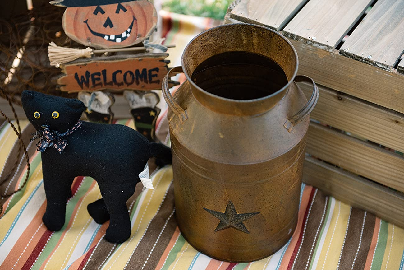 Craft Outlet Milk Can Container with Star Attached, 10.5-Inch, Rust 3