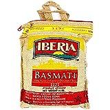 Iberia Basmati Rice, 4 Pound, Extra Long Grain, Naturally Aged Indian White Basmati Rice, Natural Basmati Rice in Burlap Bag with Zipper for Convenience