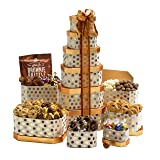 Broadway Basketeers Gourmet Gift Tower with an Assortment of Chocolate, Snacks, Sweets, Cookies and Nuts (Tamaño: 1 Count)