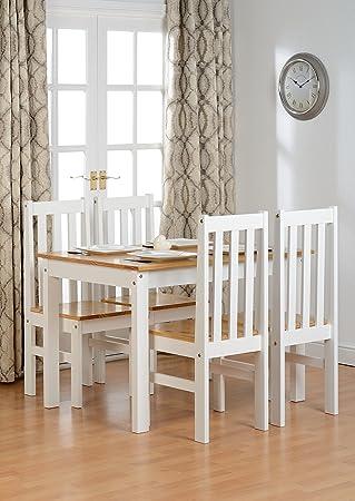Seconique Ludlow Pequeño Conjunto de comedor con 4sillas de Ludlow–Color Roble y Blanco