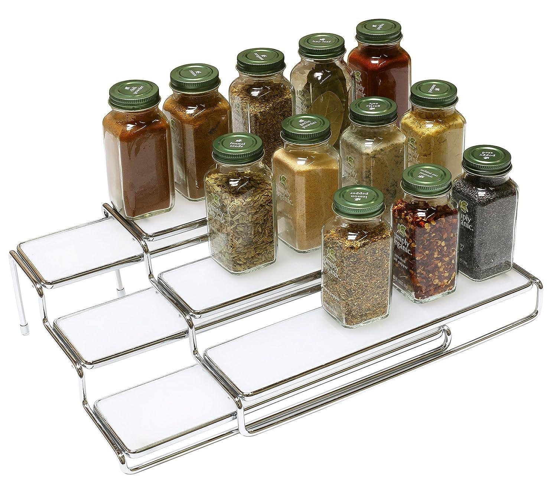 Kitchen Shelf For Spices: Rack Step Shelf Organizer 3 Tier Expandable Cabinet Spice
