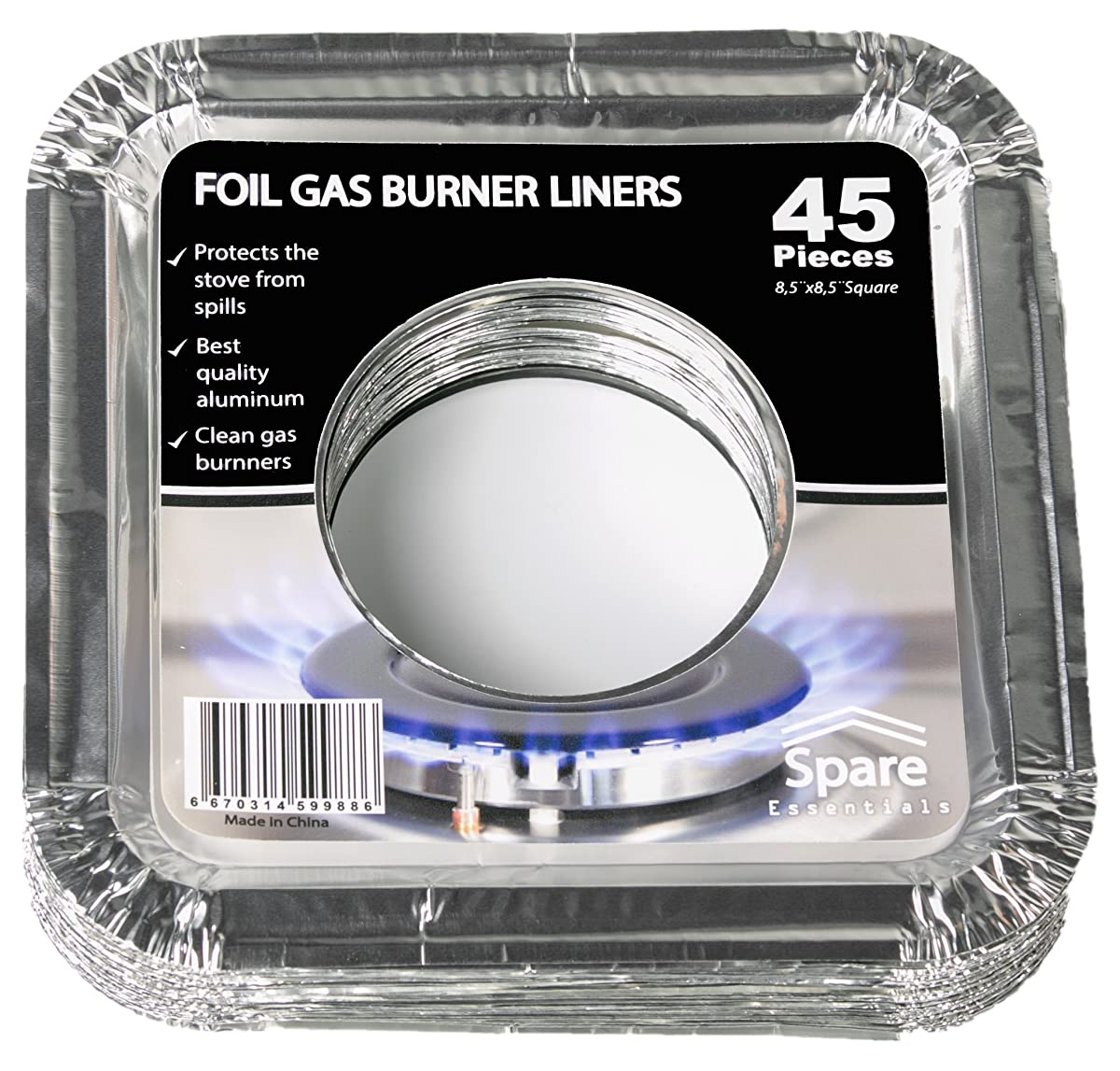 "45PACK Aluminum Foil Square Stove Burner Covers Range Protectors Bib Liners Disposable Gas Burner Bibs Gas Top Liner Stove Easy Clean - (8.5"" Square) from Spare"