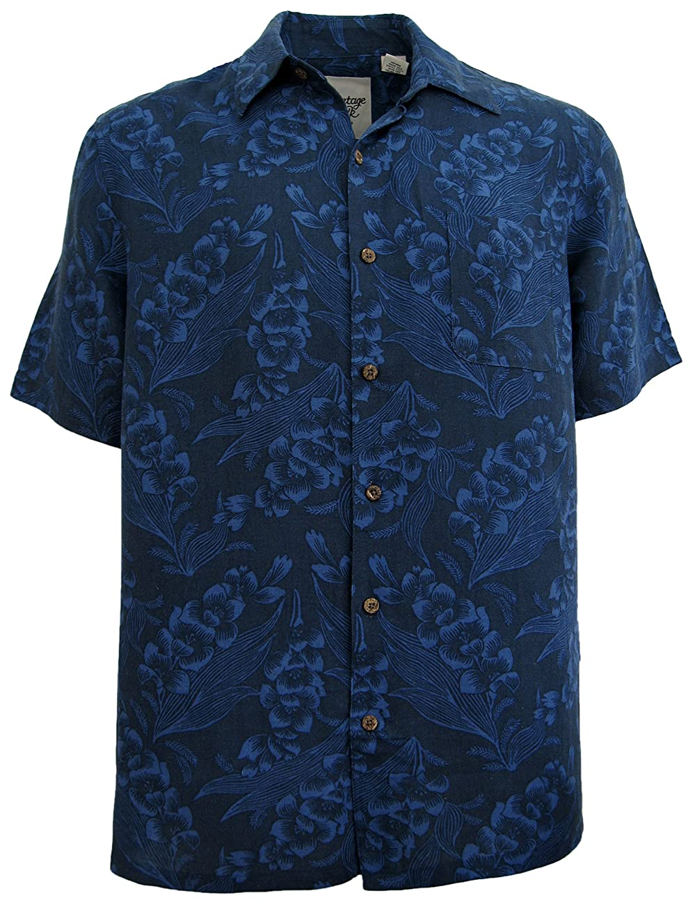Mens Silk Linen Blend Hawaiian Camp Shirt Navy Blue Floral Casual 0