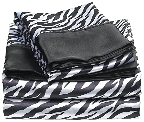 Divatex Home Fashions Royal Opulence Satin Sheet Set Zebra Queen