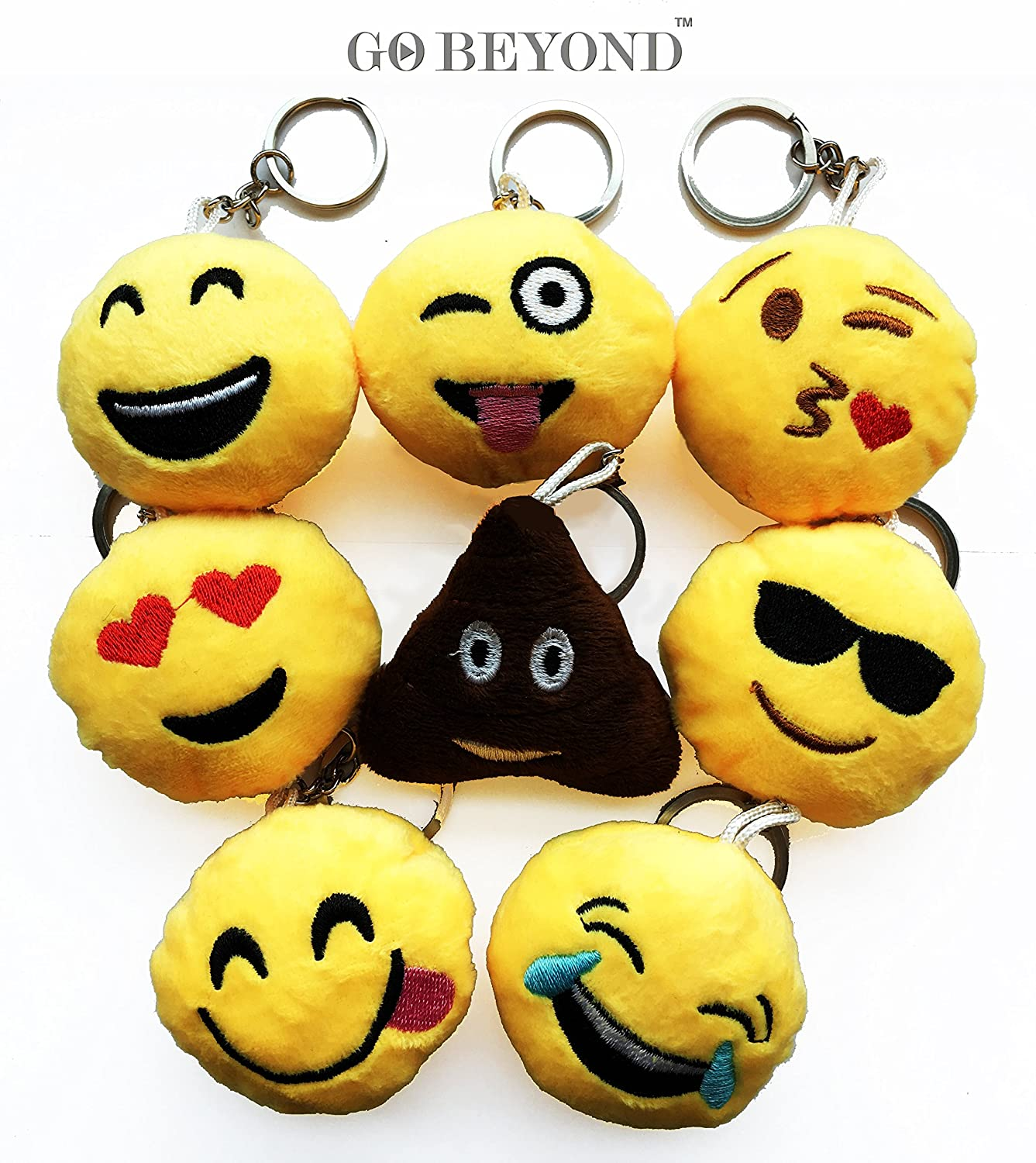 8pcs Emoji Smiley Emoticon Cushion Stuffed Plush Toy Doll KeyChain