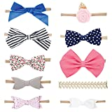 Parker Baby Girl Headbands and Bows, Assorted 10 Pack of Hair Accessories for Girls (Color: Assorted, Tamaño: One Size)