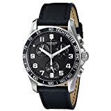 Victorinox Men's 'Chrono Classic' Swiss Quartz Stainless Steel and Leather Casual Watch, Color:Black (Model: 241493) (Color: Black Dial, Black Leather Strap, Tamaño: 41MM)