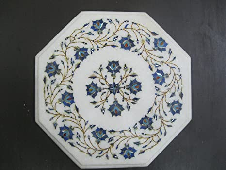 Marble Inlay Table Top Pietra Dura Semi Precious Stone Floral Design Tea Coffee Sofa Side Table Home Office Decor Indian Heritage Marquetry Handicrafts Work