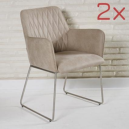 2er Set elegante Polsterstuhle aus Lederimitat fur Wohnzimmer und Esszimmer - Sitzmöbel Lounge Designer Sessel in beige mit Armlehnen