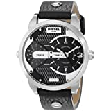 Diesel Men's DZ7307 Mini Daddy Stainless Steel Black Leather Watch (Color: Black)
