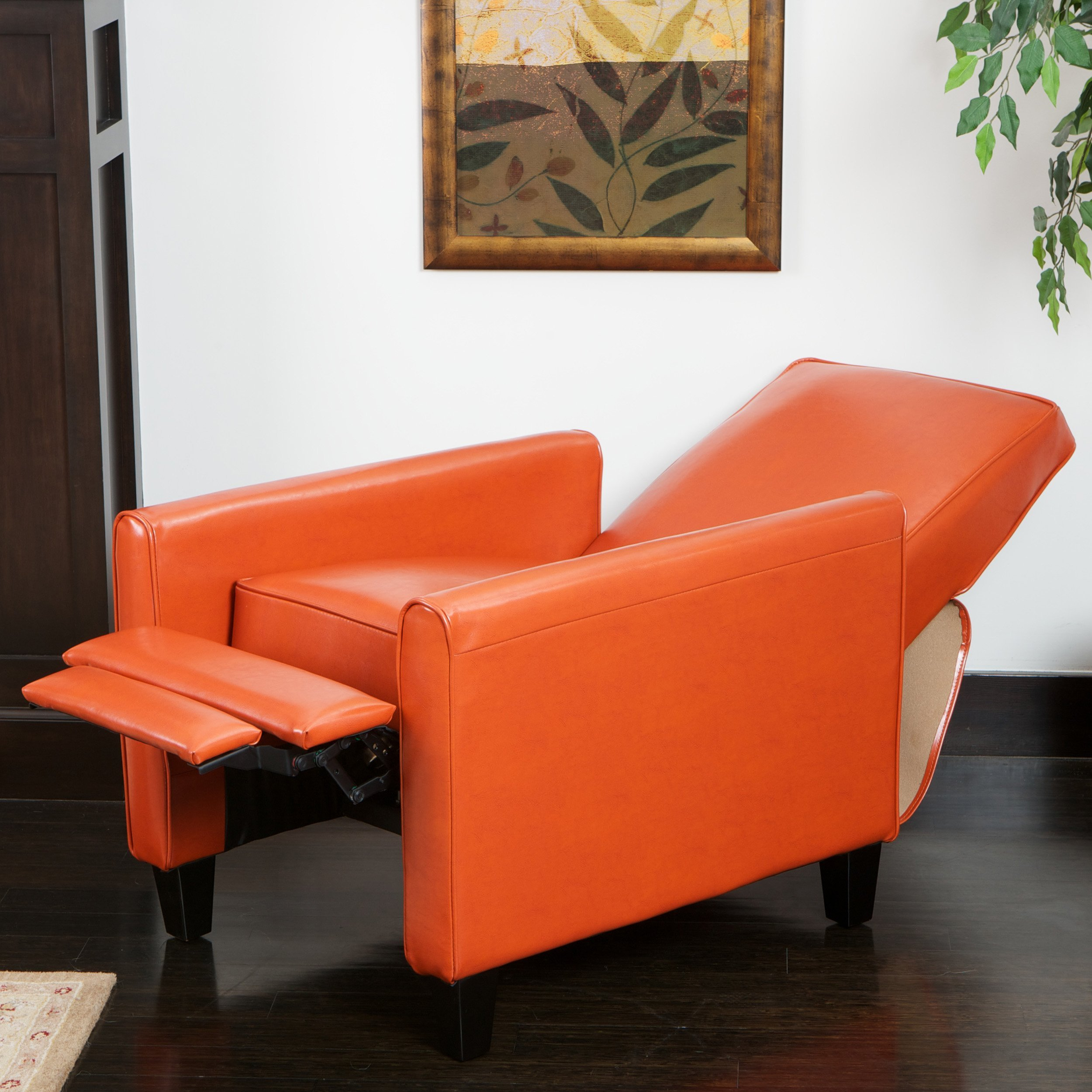 Lucas Orange Leather Recliner Club Chair FurnitureNdecor – Leather Recliner Club Chairs
