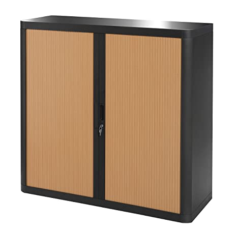 PaperFlow E1CT0005100045 Easyoffice1M armario madera de haya, color negro con cortinas de plástico, 41,5 x 110 x 104 cm