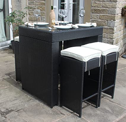 All Weather Black Rattan Outdoor Garden Furniture 5 Piece Bar Set