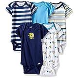 Gerber Baby Boys' 5 Pack Onesies, Safari, 0-3 Months