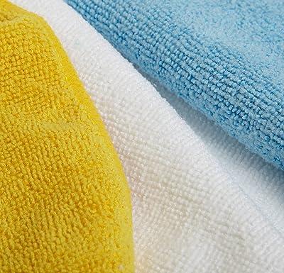 AmazonBasics - Bayeta de microfibra (36 unidades), color blanco, azul y amarillo