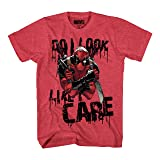 Marvel Deadpool Do I Look I Care Mens T-Shirt (Large, Heather Red) (Color: Heather Red, Tamaño: Large)
