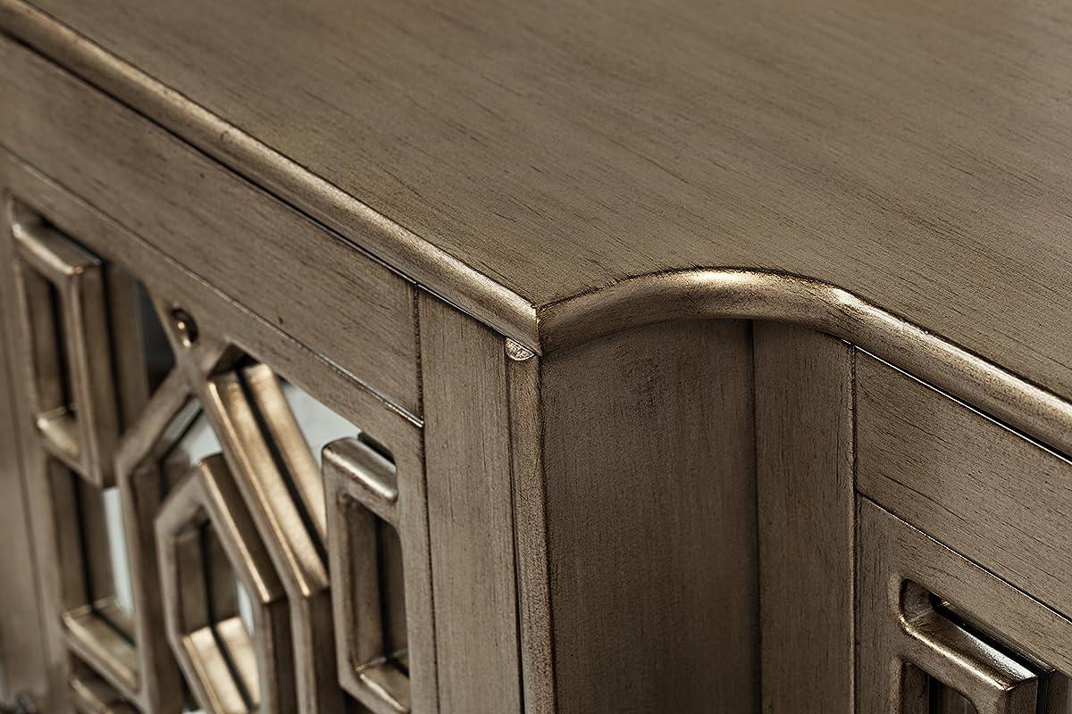 "Jofran 1550-70, Casa Bella, Mirrored Console, 70"" W X 18"" D X 34"" H, Vintage Silver Finish, (Set of 1)"