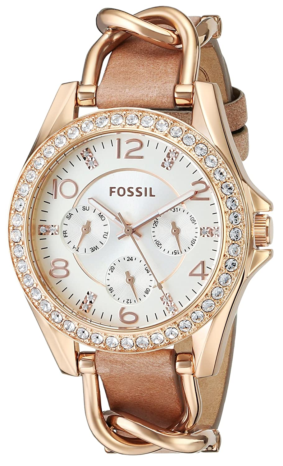 119481c01f2 Fossil Women s ES3466  Riley  Multi-Function Crystal Brown Leather ...