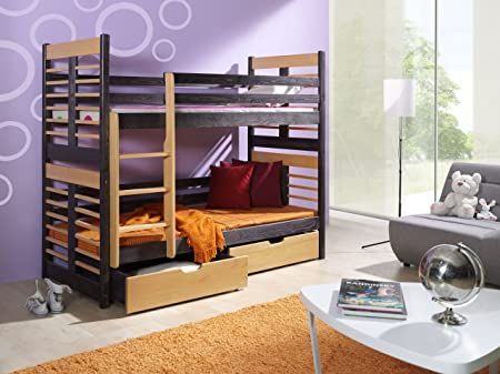 AUGUSTIN Children Bunk Bed - Pine Wood - 22 Colours - 2 Sizes - 4 Types of Mattresses (UK Standard 199cm x 94cm x 160cm)