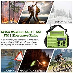 Emergency NOAA Weather Alert Radio & AM/FM/SW Broadcast Kit for Travelling, Dynamo Hand Crank/Solar Panel/Built-in Battery/AC Powered with Compass, SOS Alarm, LED Flashlight, Reading Lamp, USB Charger (Color: Green, Tamaño: Normal)