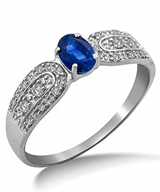 Miore 9ct White Gold Blue Sapphire and Pave Diamond Ring SA9020R